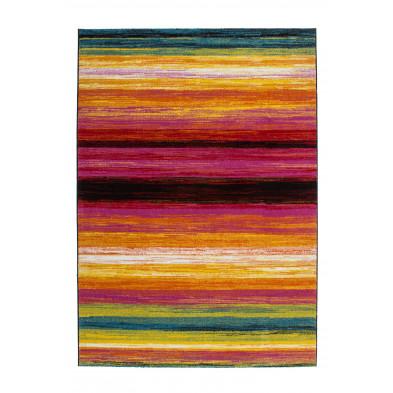 Tapis design multicouleur en polypropylène heatset frisée L. 150 x P. 80 x H. 1,7 cm Collection Vanderbiezen