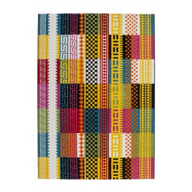 Tapis design multicouleur en polypropylène heatset frisée L. 150 x P. 80 x H. 1,7 cm Collection Ripabianca