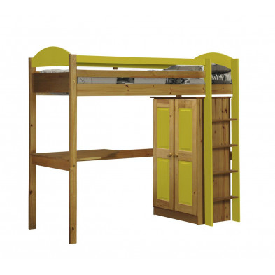 Lit mezzanine 90 x 200 cm contemporain jaune en bois massif Collection Blakemere