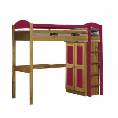 Lit mezzanine 90 x 200 cm contemporain fuchsia  en bois massif Collection Blakemere