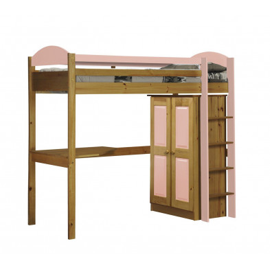 Lit mezzanine 90 x 200 cm  contemporain rose  en bois massif  Collection Blakemere