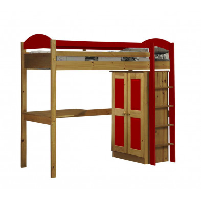 Lit mezzanine 90 x 200 cm contemporain rouge en bois massif Collection Blakemere