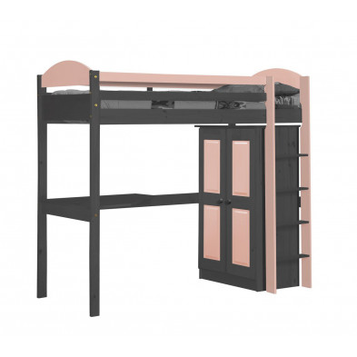 Lit mezzanine 90 x 200 cm contemporain rose en bois massif collection Blakemere