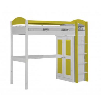 Lit mezzanine 90 x 200 cm jaune  contemporain en bois massif collection Blakemere