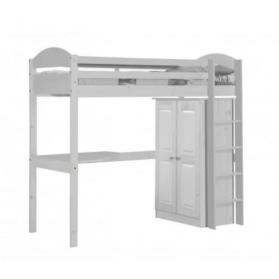 Lit mezzanine blanc contemporain en bois massif  90 x 190 cm collection Blakemere