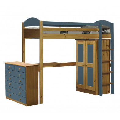 Lit mezzanine 90 x 200 cm bleu contemporain en  bois massif collection Blakemere