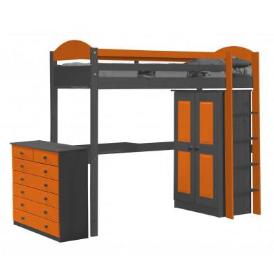 Lit mezzanine 90 x 200 cm contemporain orange  en bois massif  collection Blakemere