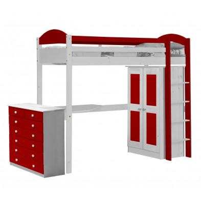 Lit mezzanine 90 x 200 cm rouge  contemporain en bois massif  collection Blakemere