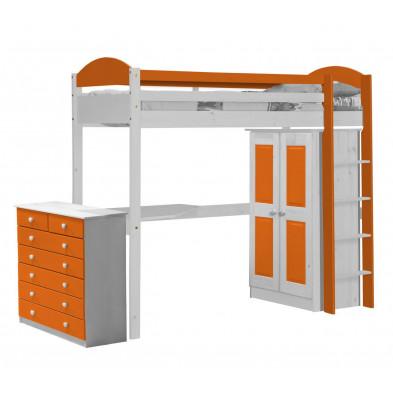 Lit mezzanine orange contemporain en bois massif 90 x 190 cm collection Blakemere