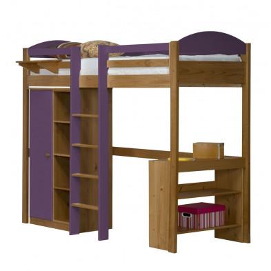 Lit mezzanine 90 x 200 cm contemporain violet en bois massif  collection Blakemere