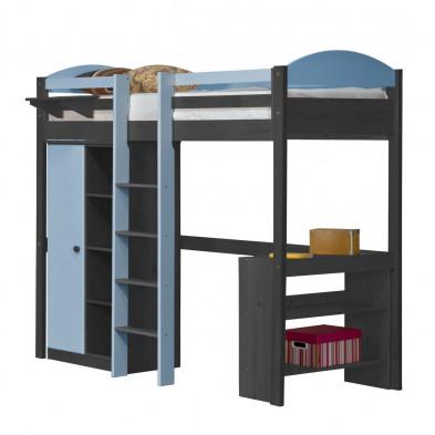 Lit mezzanine  bleu 90 x 200 cm contemporain en  bois massif collection Blakemere