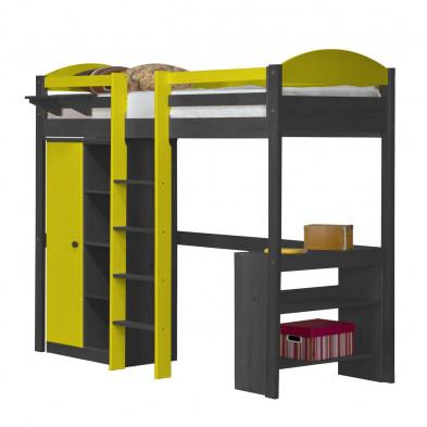 Lit mezzanine contemporain  jaune en bois massif  90 x 190 cm collection Blakemere