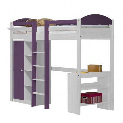 Lit mezzanine contemporain violet en bois massif  90 x 200 cm collection Blakemere