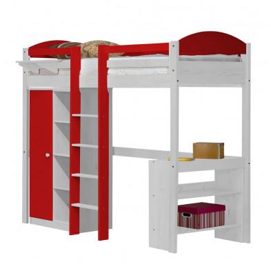 Lit mezzanine rouge contemporain en  bois massif  90 x 190 cm collection Blakemere