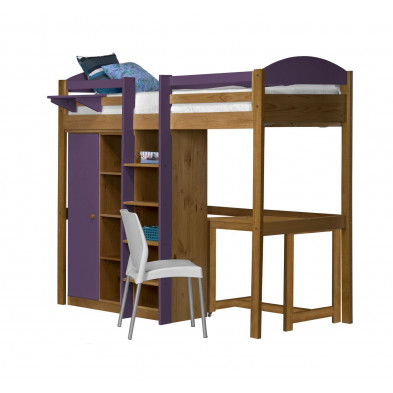 Lit mezzanine contemporain violet  en bois massif  90 x 190 cm collection Blakemere