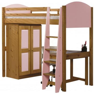 Lit combiné Rose contemporain en bois massif 90 x 190 cm collection Genoveffa