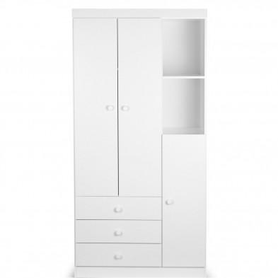 Armoire bébé design blanc en panneaux de particules de haute qualité L. 90 x P. 47 x H. 182 cm Collection Muench