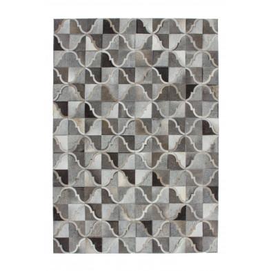 Tapis vintage en cuir véritable gris avec des motifs géométrique L. 150 x P. 80 x H. 0,8 cm Collection  Kampman