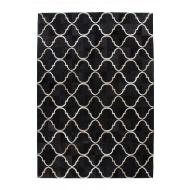 Tapis vintage en cuir véritable noir avec des motifs géométrique L. 150 x P. 80 x H. 0,8 cm Collection Kampman