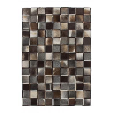 Tapis vintage en cuir véritable gris avec des motifs cubisme L. 170 x P. 120 x H. 0,8 cm Collection Osinga