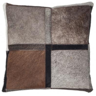 Coussin et oreiller gris vintage tissé à la main en cuir véritable L. 45 x P. 45 cm collection Osinga