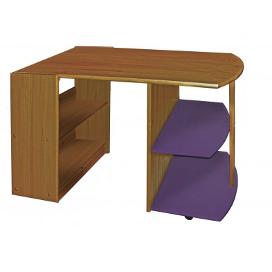 Bureau enfant contemporain violet en bois massif pin 119 cm de largeur collection Genoveffa