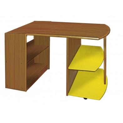 Bureau enfant contemporain jaune en bois massif pin 119 cm de largeur collection Genoveffa