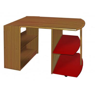 Bureau enfant contemporain rouge en bois massif pin 119 cm de largeur collection Genoveffa