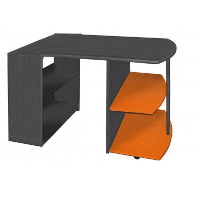 Bureau enfant contemporain orange en bois massif pin 55 cm de largeur collection Genoveffa