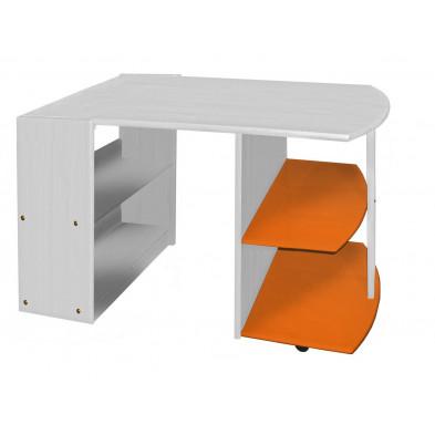 Bureau enfant contemporain orange en bois massif pin 119 cm de largeur collection Genoveffa