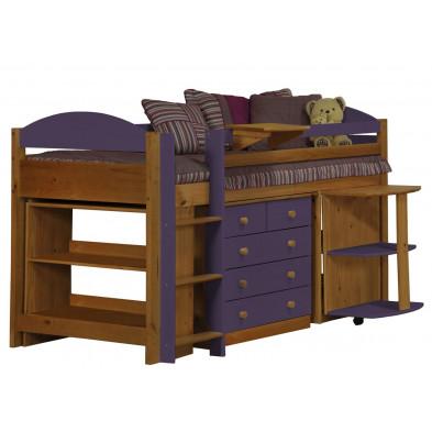 Lit combiné contemporain violet en bois massif 90 x 190 cm collection Blakemere