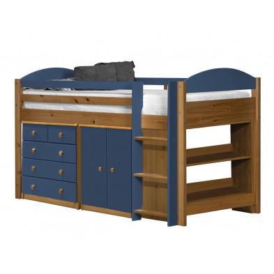 Lit combiné 90 x 200 cm contemporain bleu en bois massif collection Blakemere