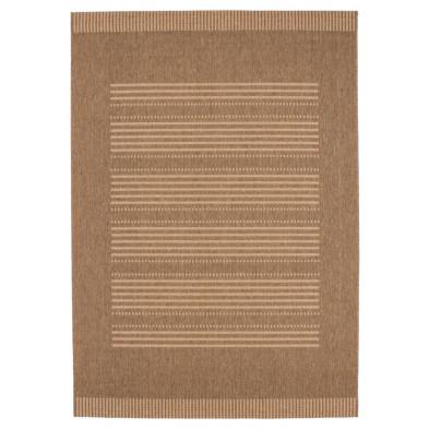 Tapis moderne marron en polypropylène bcf avec des motifs rayé  L. 290 x P. 200 x H. 0,5 cm Collection Alger