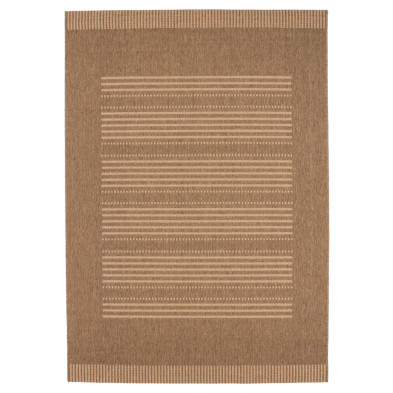 Tapis moderne marron en polypropylène bcf avec des motifs rayé L. 150 x P. 80 x H. 0,5 cm Collection Alger