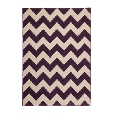 Tapis moderne violet en polypropylène avec des motifs géométrique L. 230 x P. 160 x H. 1 cm Collection Dysfunctional