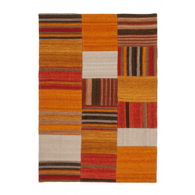 Tapis retro & patchwork orange contemporain tissé à la main en 80% laine et 20% coton L. 230 x P. 160 x H. 1,2 cm collection Setteca