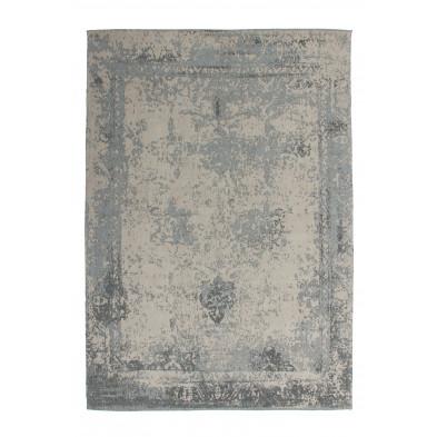 Tapis retro & patchwork gris vintage tissé à la main en 50% coton et 50% polyester chenille L. 290 x P. 200 x H. 1 cm collection Waalre