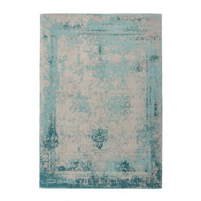 Tapis vintage bleu avec des motifs rayé L. 150 x P. 80 x H. 1 cm Collection Waalre
