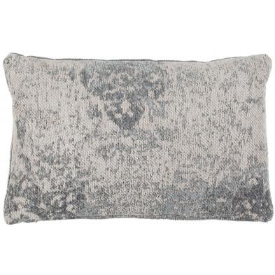 Coussin et oreiller gris vintage tissé à la main en 50% coton et 50% polyester chenille L. 60 x P. 40  cm collection Waalre