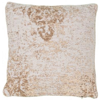 Coussin et oreiller beige vintage tissé à la main en 50% coton et 50% polyester chenille L. 45 x P. 45 x H. 0 cm collection Waalre