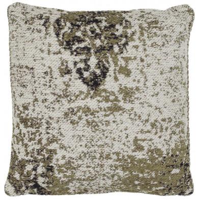 Coussin et oreiller vert vintage tissé à la main en 50% coton et 50% polyester chenilleL. 45 x P. 45 x H. 0 cm collection Waalre