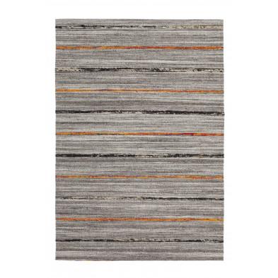 Tapis retro & patchwork gris vintage tissé à la main en 60% laine + 20% coton et 20% soie artificielle L. 170 x P. 120 x H. 1,6 cmcollection Sobreda