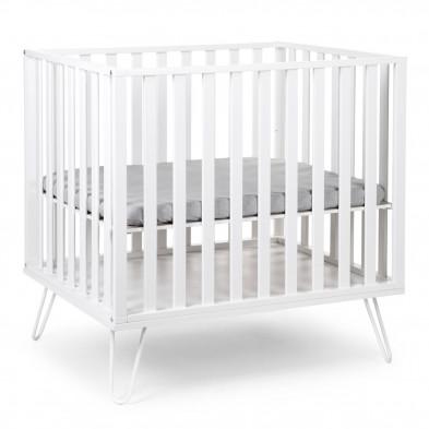Parc bébé design blanc en métal et bois MDF 75 x 95 cm Collection Solve