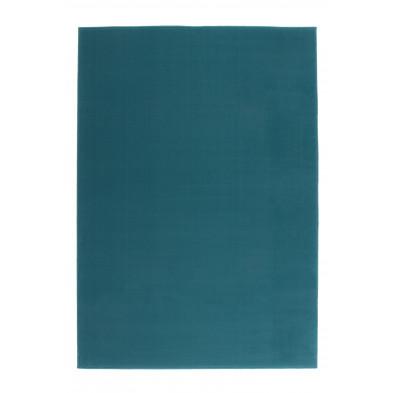 Tapis unicolore bleu moderne tissé à la machine en polypropylène L. 170 x P. 120 x H. 1 cm collection Sulky