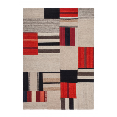 Tapis retro & patchwork multicouleur contemporain tissé à la main en 80% laine et 20% coton  L. 150 x P. 80 x H. 1,2 cm  collection Setteca