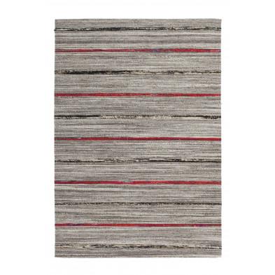 Tapis retro & patchwork gris vintage tissé à la main en 60% laine + 20% coton et 20% soie artificielle L. 170 x P. 120 x H. 1,6 cm collection Sobreda