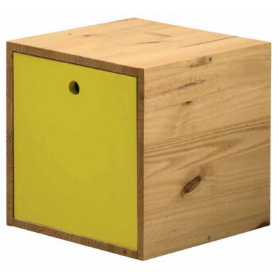 Boîte - panier contemporain jaune en bois massif pin L. 35,5 x H. 35,5 cm collection Vladimir