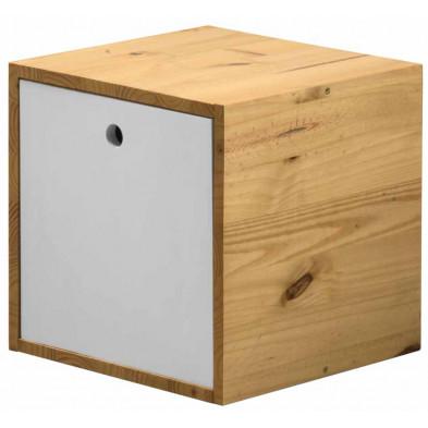 Boîte - panier contemporaine blanc en bois massif pin L. 35,5 x H. 35,5 cm collection Vladimir