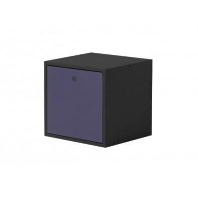 Boîte - panier contemporain violet  en bois massif L. 35,5 x H. 35,5 cm collection Vladimir