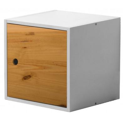 Boîte - panier blanc contemporain en bois massif pin L. 35,5 x H. 35,5 cm collection Vladimir